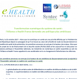 Transformation numérique du système de santé :  l'Alliance e-Health France demande une politique plus ambitieuse